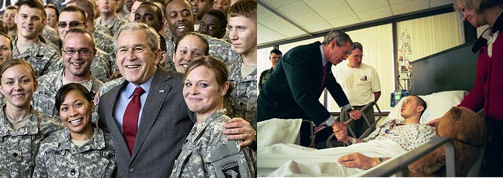 Bush with troops